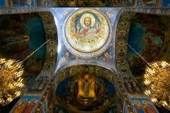 Église du sauveur sur le sang renversé, intérieure Photographie stock