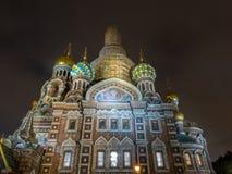 Église du sauveur sur le sang Spilled dans la soirée, Russie image stock