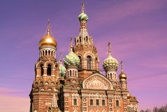 Église du sauveur sur le sang Spilled ou cathédrale de la résurrection du Christ au coucher du soleil, St Petersburg Photos stock