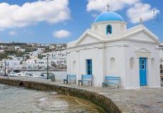 Église en île de Chora Mykonos près de la mer Image libre de droits