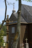 Église en bois de la survie la plus ancienne en Lithuanie Images stock