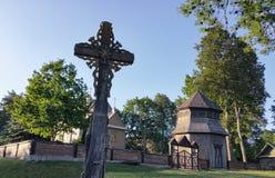 Église en bois de Paluse en parc national d'Aukstaitija en Lithuanie Photographie stock