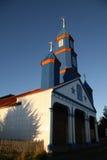 Église en bois peinte dans Chiloe Image libre de droits