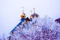 Église en hiver, Image stock