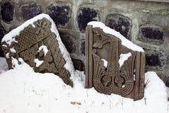 Église en pierre croisée cassée de St Harutyun Tsakhkadzor photographie stock libre de droits