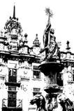 Église en Santiago de Compostela, illustration noire et blanche photographie stock