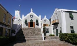 Église et bâtiments en Bermudes Photographie stock libre de droits