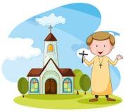 Église et prêtre illustration stock