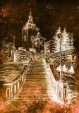 Église et staircaise, dessin au crayon sur le papier, effet inverti de vintage illustration stock