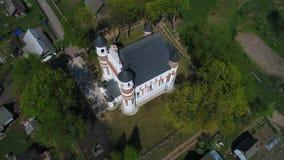 Église-forteresse de la nativité de la vidéo aérienne de Vierge Marie Murovanka banque de vidéos