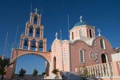 Église grecque rose Photographie stock libre de droits