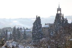 Église italienne en hiver Images libres de droits