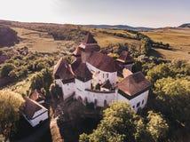 Église la Transylvanie Roumanie de Viscri Effet artistique APPL de vintage Image libre de droits