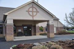 Église luthérienne et école maternelle de Messie chez Eagle Creek image stock
