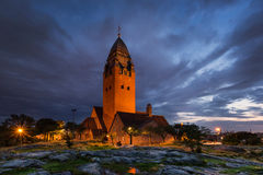 Église Masthugget à Gothenburg la nuit Image libre de droits