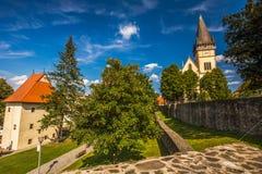 Église monumentale de St Aegidius au vieux centre de la ville de Bardejov Image libre de droits