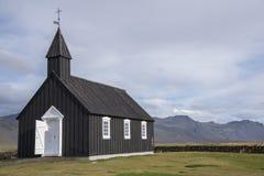 Église noire de Buðir, bord du sud du Snæfellsness 9 péninsulaires Image stock