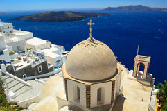 Église orthodoxe de St John chez Fira, Santorini Photos stock