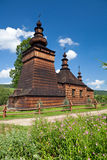 Église orthodoxe en bois dans Skwirtne, Pologne Photos stock