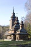 Église orthodoxe en bois des Carpathiens Images stock