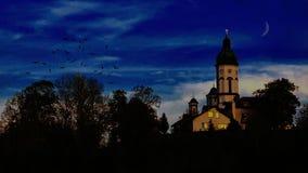 Église orthodoxe le soir photographie stock