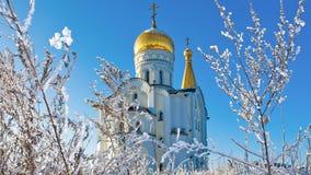 Église orthodoxe russe de St Tatiana en Samara, Russie banque de vidéos