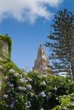 Église paroissiale de Naxxar, vue de Palazzo Parisio, Naxxar, Malte image libre de droits