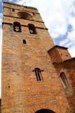 Église romane médiévale Espagne de village d'Ainsa Photographie stock libre de droits