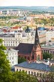 Église rouge et évangélique à Brno, République Tchèque. Image stock
