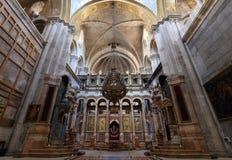 Église sainte de tombe - église de la résurrection Une partie de la tombe sainte - église de la résurrection, Jérusalem, Israël Images libres de droits