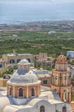 Église Santorini de pêche Photo stock