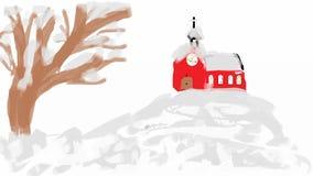 Église sur la colline Images libres de droits