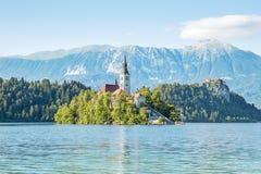 Église sur une île et château sur la roche dans saigné Photos stock
