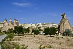 églises de Roche-coupe dans Cappadocia photos libres de droits