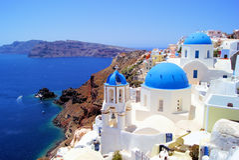 Églises de Santorini Photos libres de droits