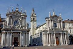 Églises jumelles carrées de Turin San Carlo Photographie stock
