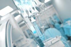 Égouttement intraveineux sur le fond de travailler le te de médecins photo stock