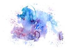 Égouttements bleu-rouges de tache d'aquarelle lumineuse Illustration abstraite sur un fond blanc Bannière pour le texte, élément  Photo stock