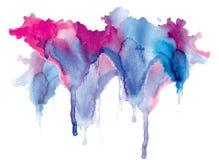 Égouttements bleu-rouges de tache d'aquarelle lumineuse Illustration abstraite sur un fond blanc Bannière pour le texte, élément  illustration stock