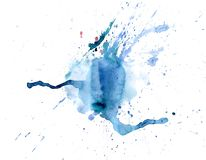 Égouttements bleus de tache d'aquarelle lumineuse Illustration abstraite sur un fond blanc photo stock
