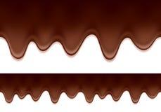 Égouttements fondus de chocolat - frontière horizontale Photographie stock