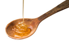 Égoutture de miel d'un plongeur en bois de miel d'isolement sur le dos de blanc photographie stock