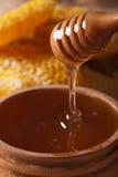Égoutture liquide de miel de fleur d'un macro de bâton vertical photographie stock