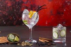 Égrenez le cocktail tonique avec des épices à l'arrière-plan grunge rouge photos libres de droits