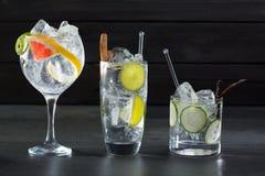 Égrenez les cocktails toniques avec le concombre et le pamplemousse de Lima image libre de droits