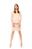 élégance Intégral de la fille dans la robe rose et avec le sac à main photo stock