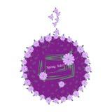 Élégant avec le label lilas de fleurs Vente de ressort Images stock