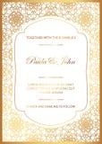 Or élégant et carte de mariage blanche Vintage royal épousant Invit illustration de vecteur