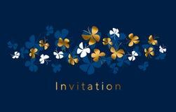 Or élégant et composition bleue en papillon pour la carte, invitation illustration stock