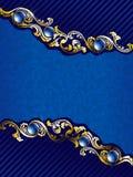 Or élégant et fond bleu avec des gemmes Photographie stock